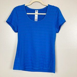 ACTIVE LIFE • Blue Mesh Stripe Athletic Top